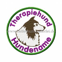 Therapiehund Wunschname, Aufnäher rund